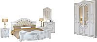 Комплект мебели для спальни Империал Александрина без ОМ ШК-4 МИ (белый/золото) -