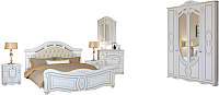Комплект мебели для спальни Империал Александрина с ОМ МИ ШК-4 (белый/золото) -