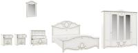 Комплект мебели для спальни Империал Барбара без ОМ ШК-5 (белый/золото) -