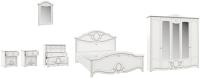 Комплект мебели для спальни Империал Барбара без ОМ ШК-5 (белый/серебристый) -