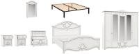 Комплект мебели для спальни Империал Барбара с ОМ ШК-5 (белый/серебристый) -