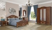 Комплект мебели для спальни Империал Барбара с ОМ ШК-4 (орех/золото) -