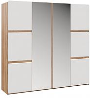 Шкаф Империал Дакота 4-х дверный (дуб сонома/белый глянец) -