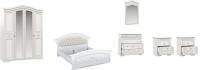 Комплект мебели для спальни Империал Диана без ОМ ШК-4 МИ (белый/золото) -