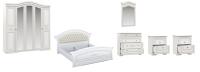 Комплект мебели для спальни Империал Диана без ОМ МИ ШК-5 (белый/золото) -