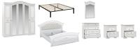 Комплект мебели для спальни Империал Диана с ОМ МИ ШК-5 (белый/серебристый) -