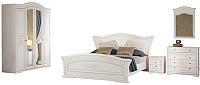 Комплект мебели для спальни Империал Каролина с ОМ 180 МИ ШК-4 (белый/золото) -