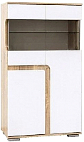 Шкаф с витриной SV-мебель Гостиная Нота 25 малая (дуб сонома/белый глянец) -