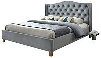 Двуспальная кровать Signal Aspen Velvet 160x200 (серый) -