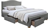 Двуспальная кровать Signal Celine 160x200 (серый/дуб) -