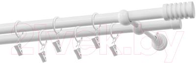 Карниз для штор Gardinia Порто 2хр D19 / 48-2029462 (белый)