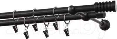 Карниз для штор Gardinia Порто 2хр D19 / 48-2029468 (черный)